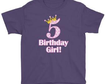 5th Birthday Girl t-shirt, Big 5 with Crown