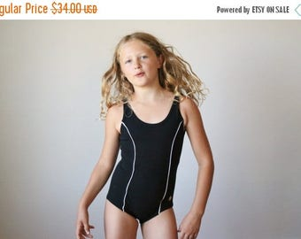 ON SALE NOS, 1960s Black Nautical Swimsuit >>> Girls Size 10/slim 12