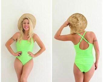 ON SALE 1990s Lime X Swimsuit /// Size Medium
