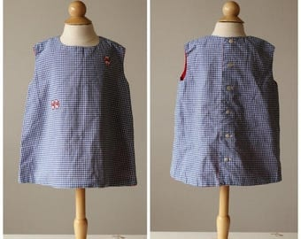 ON SALE 1950s Gingham Kittern Shift Dress~Size 18 Months