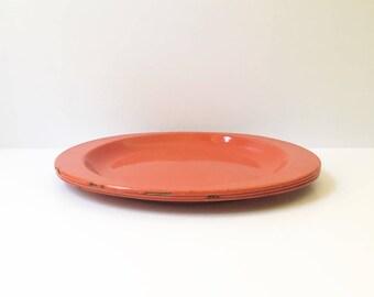 Enamel Plates red plates metal plates vintage enamelware camping plates