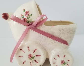 Vintage Baby Carriage Ceramic Container Pink Roses and Bow