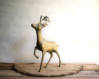 Vintage Brass Deer Figurine With Antlers, Leg Up, Autumn and Cabin Decor, Rustic Cottage Sculpture, Spotted Details, Stag