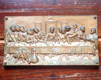 Vintage Last Supper Plaque Heavy Brass Washed Metal Wall Placard