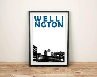 Wellington Print // New Zealand Art // Wellington Poster // Wellington Art // New Zealand Print // New Zealand Poster // Husband Gift