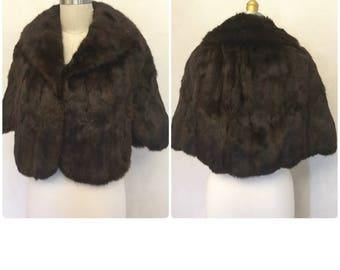 Vintage Fur Wrap. Caplet. Stole. 60's cocktail fur. Pin Up. glamour