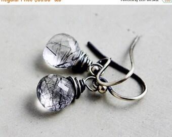 Summer Sale Tourmalinated Quartz Drop Earrings, Crystal Quartz Earrings, Black and White Earrings, Sterling Silver Drop Earrings