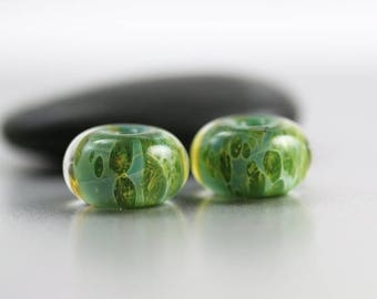 10% OFF SALE Green Lampwork Beads - Pair - Lampwork Beads - 13x8mm