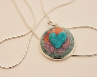 Felted Heart Necklace,Heartscapes Pendant Necklace, Needle Felted Heart  Necklace, Silver Heart Necklace #3370