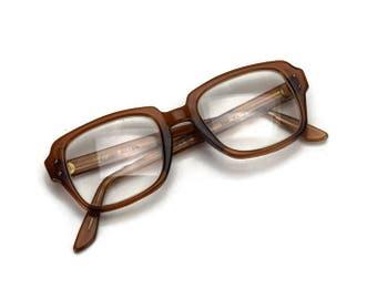 Thick Frame USS Eyeglasses, Vintage Brown Plastic Frames, Retro Glasses, Nerd Chic