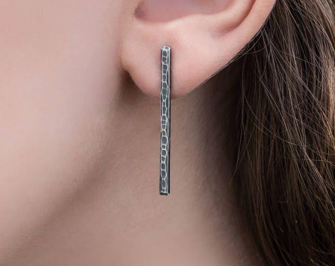 Silver Bar Post Earrings- Antiqued