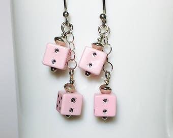 Dice Earrings, Sterling Silver, Lucky Dice, Casino Earrings, Fun Gifts for Her, Dice Dangles, Pink Dice, Roll of the Dice Earrings, Novelty