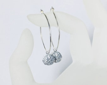 Sand Dollar Hoop Earrings, Sterling Silver Ear Wires, Gifts for Her, Beach, Cruise, Vacation Jewelry, Charms