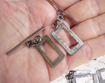SALE 20% Off Rectangle Toggle Clasp Gunmetal Copper Finding, Stardust  Brushed, QTy2