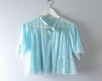 1950s Blue Tricot Nylon & Pleated Chiffon Bed Jacket Pajama Top M