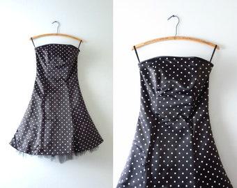 Vintage 80s 90s Party Dress | Vintage Gunne Sax Black White Satin Polka Dot Dress XS | 80s 90s Prom Dress