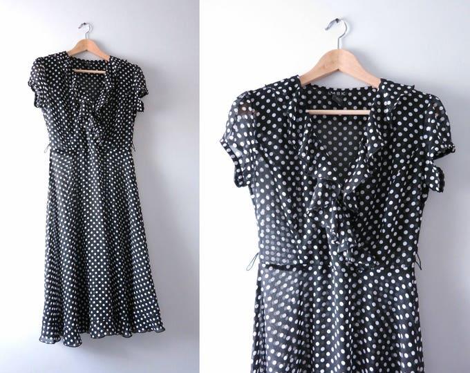 Modern | Vintage Inspired Polka Dot V Neck Ruffle Dress S