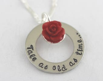 Tale As Old As Time Necklace - Rose Necklace - Bridal Shower Gift - Wedding Gift - Gift for Bride - Silver Necklace - Flower Necklace