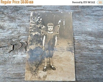 ON SALE Vintage Antique 1920/20s French real photography postcard  girl wearing butterfly costume