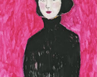 Girls in coats series:fashion painting of woman in black coat