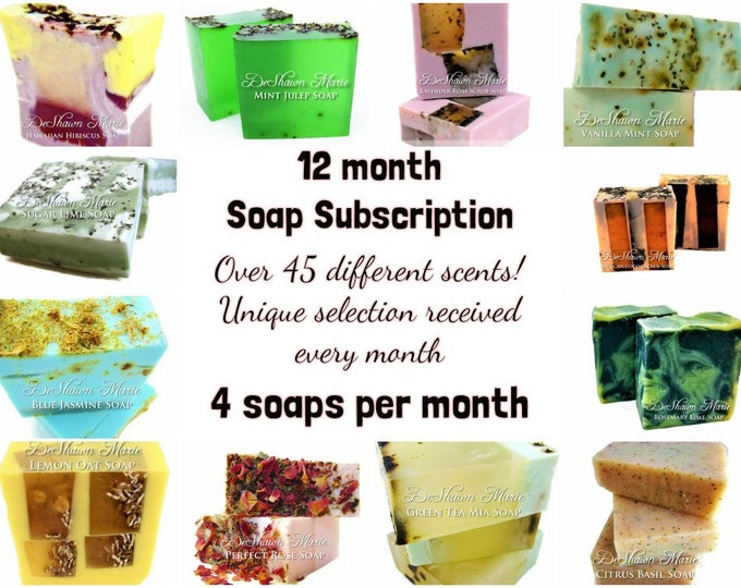 4 Soap - 12 Month Handmade Soap Club, Soap Subscription- Christmas Gift, Birthday Gift, Mother's Day Gift, Soap of the month, monthly soap