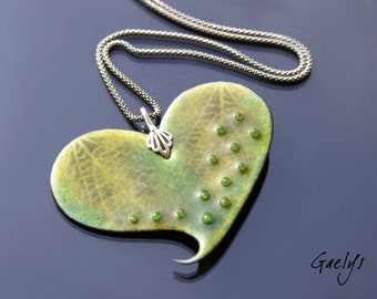 Lace - pendant enameled copper plate - drops of glass - silver - green tones - Gaelys