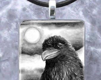 Art Glass Pendant Earrings Jewelry square Bird 64 crow raven drawing by L.Dumas