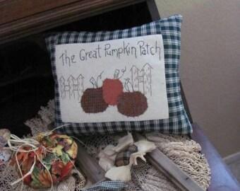 Hand Stitched Fall Pillow, The Great Pumpkin Patch, Wool Pumpkins