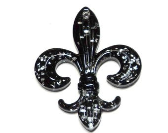 1 Glass Fleur De Lis Pendant Focal, 59mm x 47mm, Black Silver, Takuniquedesigns, DIY Jewelry Supplies