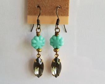 Turquoise Blue Flower Earrings, Black Crystal Dangles,Beaded Earrings, Summer Earrings Under 10