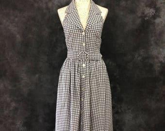 S a l e Vintage 1980's 1990's grey gingham Cristine halter neck dress Made in USA