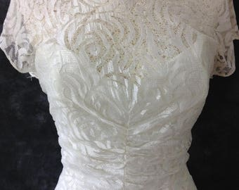 ON SALE 80's white lace dress low back backless TD4 by Eletra