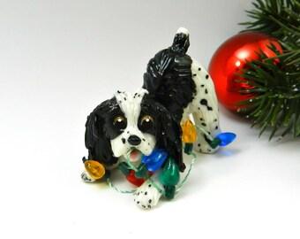 Springer Spaniel English Black Christmas Ornament Figurine Lights Porcelain