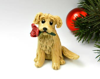 Golden Retriever Christmas Ornament Figurine Red Rose Porcelain