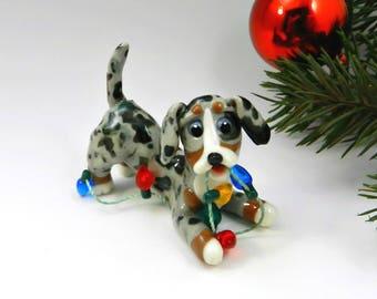 Dachshund Blue Merle Christmas Ornament Figurine Lights Porcelain