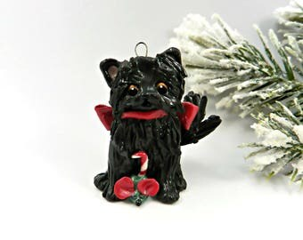 Black Cat Persian Christmas Ornament Figurine Toy Mouse Porcelain Clay