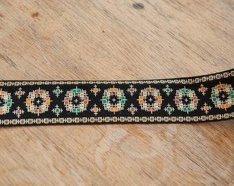 3 yards Woven Geometric  - Vintage Fabric Trim New Old Stock Mod BOHO Bohemian Black Hippie