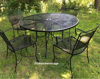 Sold Vintage Black Wrought Iron Patio Set   Woodard Salterini Style    Vintage Mid Century Wrought