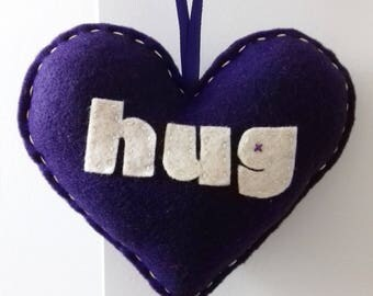 Love to HUG - Dark Purple Love Heart Decoration