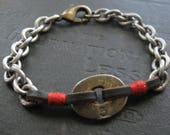 Assemblage Bracelet With Antique Key Segment Leather and Red Cotton Thread Wrap