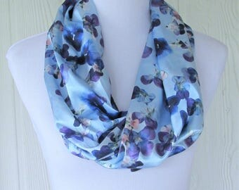 Floral Infinity Scarf, Pansy Floral, Fashion Scarf, Blue Scarf, Women's Scarves, Eclectasie