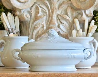 Antique Lovely English White Ironstone Tureen