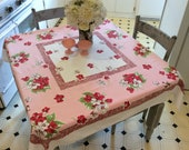 Vintage Tablecloth Pink & Red Apple Blossom Posies Retro Kitchen Floral Tablecloths