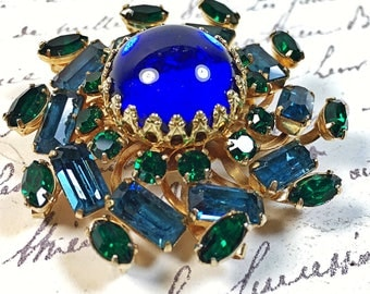 Vintage Coro brooch pin Blue Cobalt cabochon emerald blue round  navy green
