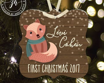 First Christmas ornament baby's first Christmas woodland fox  ornament MPO-003