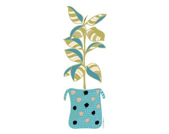 Boho Rubber Tree Tropical Art Print, Tropical Art, Garden Print, Botanical Art Print, Coastal Art, Boho Art, Kitchen Art, Garden Art