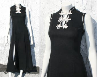Vintage 70s Cheongsam Maxi Dress / Sexy Black Gothic Witchy Side Slit Body Con Chinese Nehru Dress 80s 90s Party Size XS S M / Frog Closures