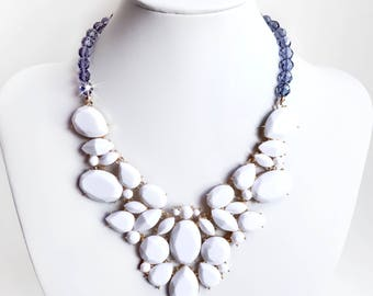 Necklace - Chic White and Navy Bib Necklace in Gold - Opaque White and Montana Blue Czech Glass Beads - Statement Bib Necklace - Summer