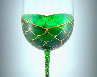 Mermaid Wine Glass, , Beach house surfer girl nautical fun wine glass hand painted