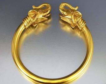 Vintage Gold Elephant Bracelet | 18K Gold Plated Animal Bracelet | Good Luck Bangle Bracelet | Aurelie Bidermann Lucky Charm Bracelet